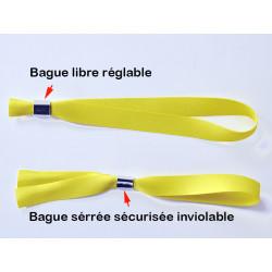 Bracelet Textil'Pass inviolable usage unique bague métal sertie