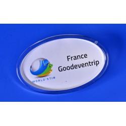 Badge Accueil Porte Nom Ovale avec aimant intégré