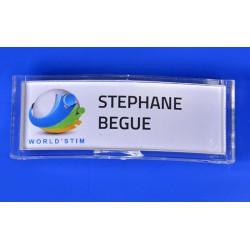 Badge Accueil Porte Nom 71x26 mm avec aimant intégré