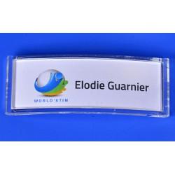 Badge Accueil Porte Nom 81x29 mm avec aimant intégré